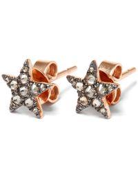 Annoushka Pink Rose Gold Love Diamonds Star Stud Earrings