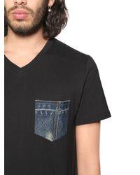 DIESEL - Black Cotton Jersey T-shirt W/ Denim Pocket for Men - Lyst
