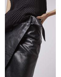 TOPSHOP - Black Wrap Pu Midi Skirt - Lyst