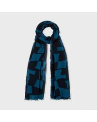 Paul Smith | Petrol Blue 'Abstract Checkerboard' Print Scarf for Men | Lyst