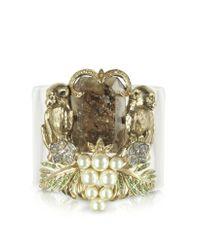 Roberto Cavalli | Metallic Brass And Plexiglass Monkey Cuff Bracelet | Lyst