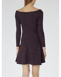 Reiss Purple Tinsel Fit And Flare Dress