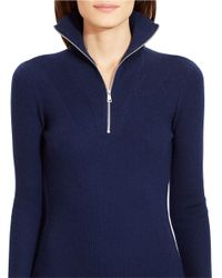 Lauren by Ralph Lauren Blue Half-zip Sweater Dress