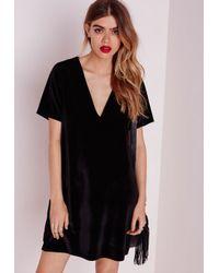 Lyst - Missguided Plunge Short Sleeve Shift Dress Black Velvet in Black 15353e041