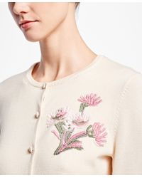 Brooks Brothers Natural Supima® Cotton Vintage Floral-embroidered Cardigan