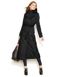 DKNY Black Plus Size Hooded Belted Trench Coat