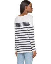 Rag & Bone | White And Navy Knit Linen Christa Pullover | Lyst