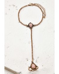 Forever 21 | Metallic Etched Faux Stone Hand Chain | Lyst