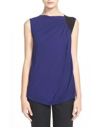 Armani - Blue Sleeveless Colorblock Top - Lyst