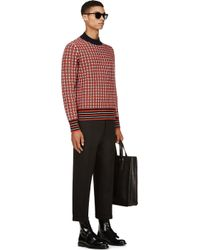 Marni - Red Navy and Orange Tattersall Sweater for Men - Lyst
