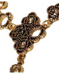 Oscar de la Renta - Metallic Gold-Tone Mosaico Crystal Finger Bracelet - Lyst