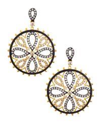 Freida Rothman - Metallic Cz Pave Floral Medallion Earrings - Lyst