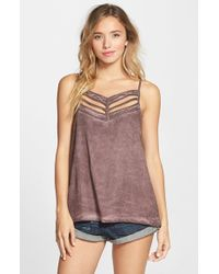 RVCA - Purple 'obviously' Cutout Top - Lyst