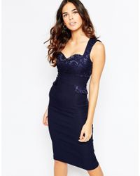 Vesper Blue Taylor Midi Dress With Lace Sweetheart Neckline And Pocket Detail