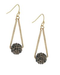 BCBGeneration | Black Goldtone Jet Stone Ball Drop Earrings | Lyst