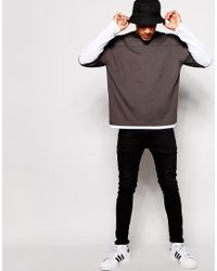 ASOS Gray Oversized Long Sleeve T-shirt With Double Layer for men
