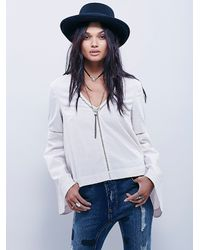Free People | White Womens Structured Bell Sleeve Top | Lyst