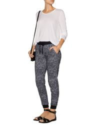 Splendid - Black Printed Stretch-cotton Tapered Pants - Lyst