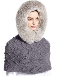 Il Borgo - Gray Fur-trim Hooded Cashmere Snood - Lyst