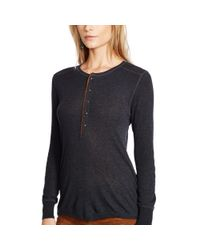 Polo Ralph Lauren - Black Suede-trim Ribbed Henley - Lyst