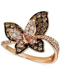 Le Vian Brown Chocolate And White Diamond Butterfly Ring (7/8 Ct. T.w.) In 14k Gold