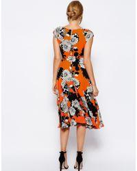 Love - Multicolor Midi Skater Dress In Mono Floral Print - Lyst