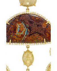 Nina Runsdorf Multicolor 18K Yellow Gold Organic Diamond Chandelier Earrings