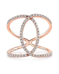 Anne Sisteron | Pink 14kt Rose Gold Diamond Cigar Band Ring | Lyst