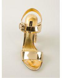 Dolce & Gabbana Metallic Embellished Heel Sandal