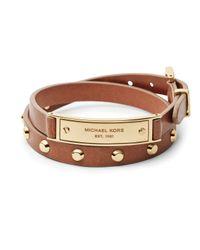 Michael Kors - Brown Logo Plaque Leather Wrap Bracelet - Lyst