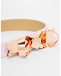 Ted Baker | Pink Leather Bow Bracelet | Lyst