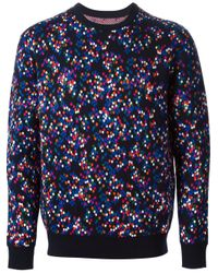 Kris Van Assche Blue Confetti Pattern Sweater for men