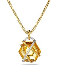 David Yurman | Metallic Cable Wrap Pendant With Champagne Citrine | Lyst