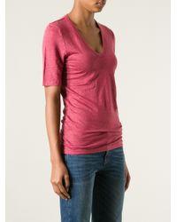 Étoile Isabel Marant Red V-Neck T-Shirt
