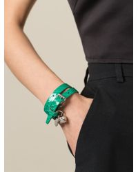 Alexander McQueen Green Double Wrap Skull Bracelet