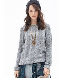 Forever 21 | Gray Classic Cable Knit Sweater | Lyst