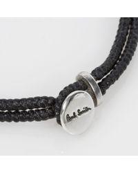 Paul Smith - Men's Silver Ganesh Charm Black Bracelet for Men - Lyst