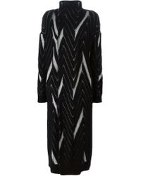 Y-3 - Black Chevron Pattern Knit Cardi-coat - Lyst