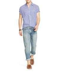 Polo Ralph Lauren | Blue Short-sleeved Gingham Linen Shirt for Men | Lyst