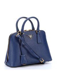 Prada - Bluette Saffiano Mini 'Promenade' Convertible Crossbody Bag - Lyst
