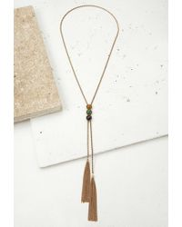 Forever 21 | Metallic Faux Stone Lariat Necklace | Lyst