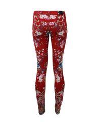 Roberto Cavalli Red Printed Skinny Jean