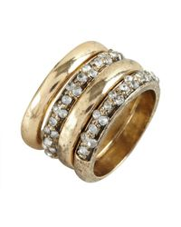 Adia Kibur | Metallic Set Of Four Distressed Gold Metal and Crystal Stackable Rings | Lyst