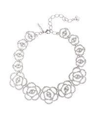 Oscar de la Renta Metallic Swarovski Crystal Pavé Flower Necklace