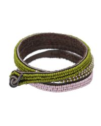 Chan Luu - Green 3 Wrap Ombre Seed Bead Bracelet With Breast Cancer Ribbon Charm - Lyst