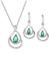 Macy's | Green Emerald (7/8 Ct. T.w.) And Diamond Accent Jewelry Set In Sterling Silver | Lyst