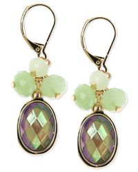 Jones New York | Gold-tone Green Bead Cluster Drop Earrings | Lyst