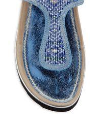 Donald J Pliner   Blue Cali Beaded Sandals   Lyst