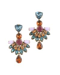 J.Crew Multicolor Jeweled Fan Drop Earrings
