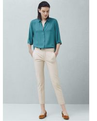 Mango Natural Straight Trousers